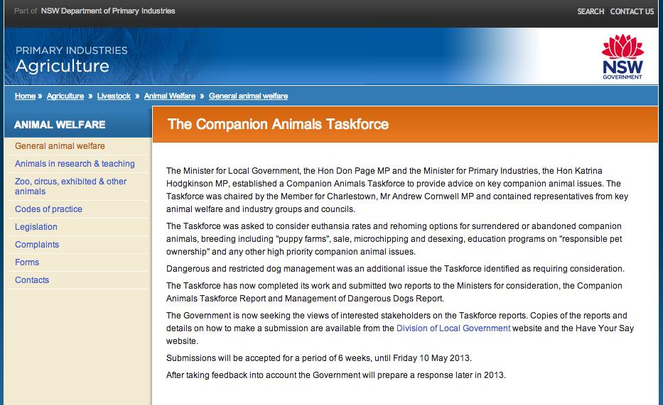 Screenshot from Companion Animal Taskforce