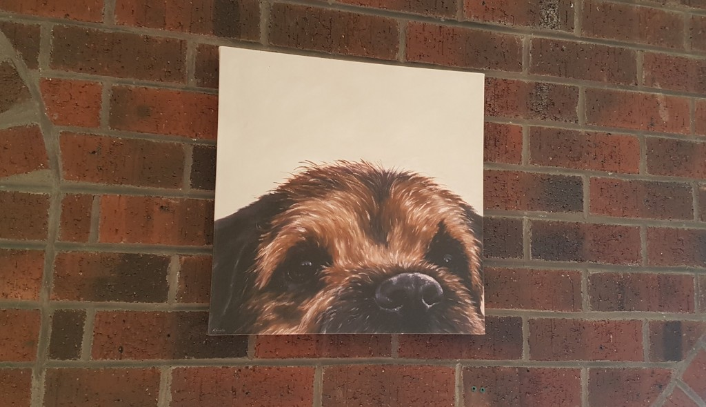 A lovely border terrier artwork, on canvas.